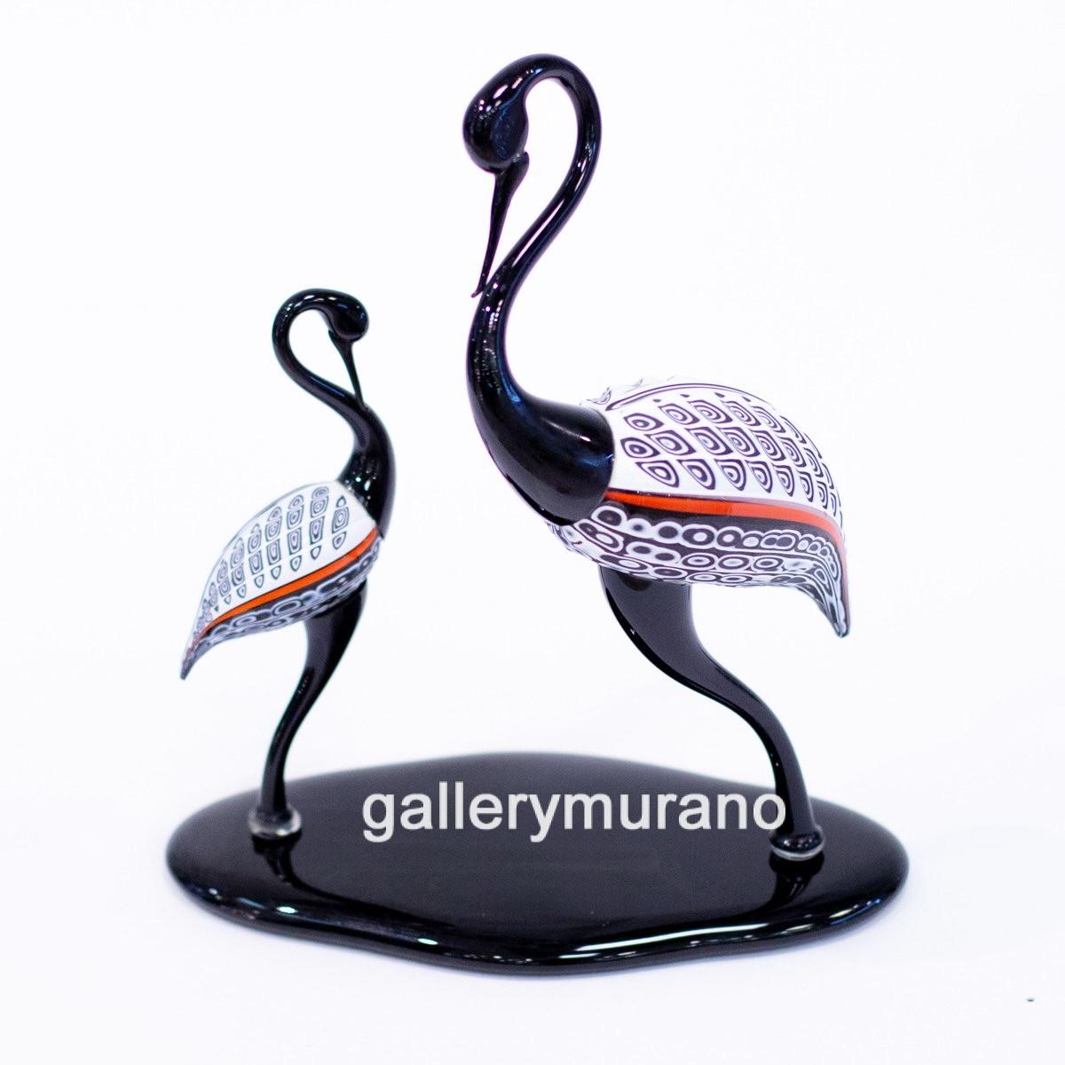 Скульптура Flamingo черно-белая